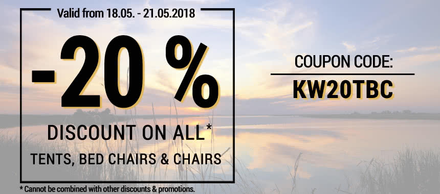 20 % Discount on all Tents, Bed Chairs & Chairs