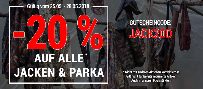 20% auf alle Jacken & Parka