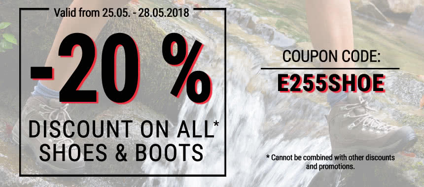 20% discount on all shoes & boots