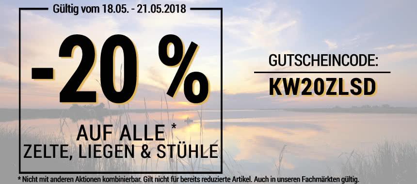 20 % auf alle Zelte, Liegen & Stühle