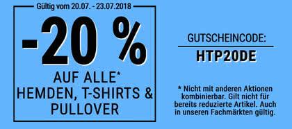 Jetzt 20 % auf alle Hemden, T-Shirts und Pullover sparen!