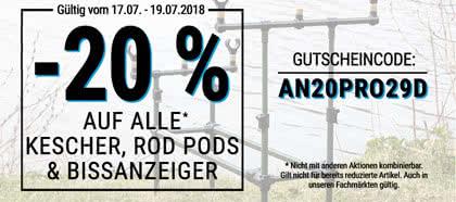 Jetzt 20 % auf alle Kescher, Rod Pods und Bissanzeiger sparen!