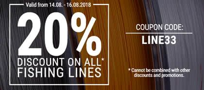 Get 20% discount on all fishing lines!