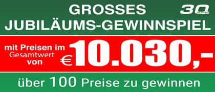 Jetzt teilnehmen! Jubiläums-Gewinnspiel! Über 100 Preise zu gewinnen!