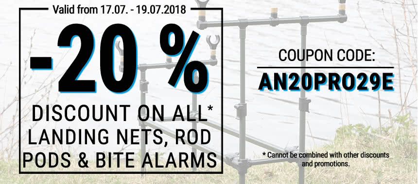 Get 20% discount on all landing nets, rod pods and bite alarms!