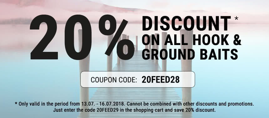 Get 20% discount on all hook baits and ground baits!
