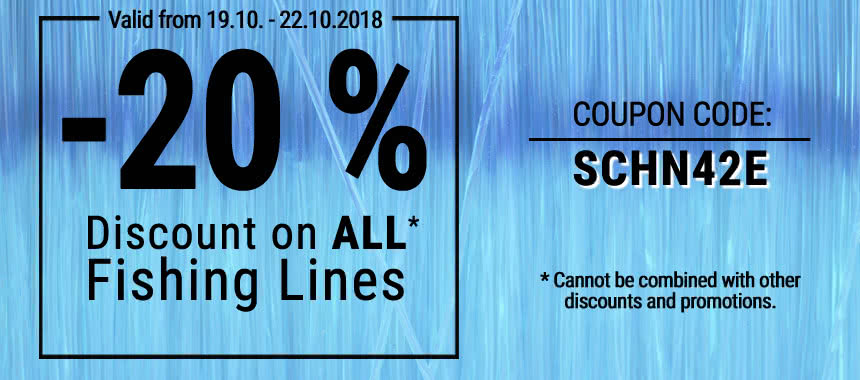 Save 20% discount on all fishing lines!