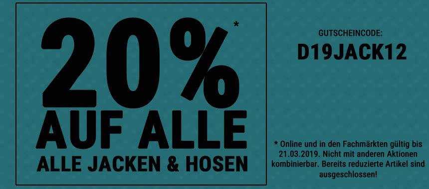 Jetzt 20 % auf ALLE Jacken und Hosen sparen!