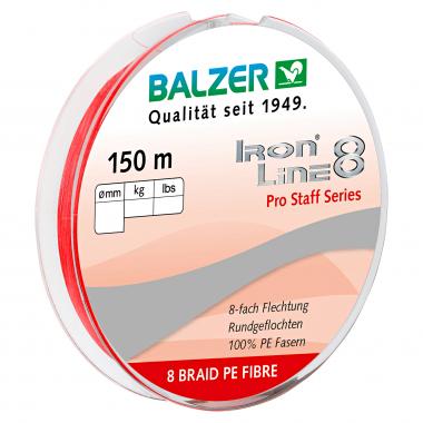 Balzer Angelschnur Iron Line 8 Pro Staff (rot, 150 m)