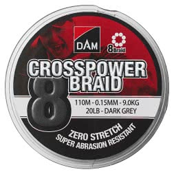 DAM® Angelschnur Crosspower 8-Braids (dunkelgrau, 300 m)