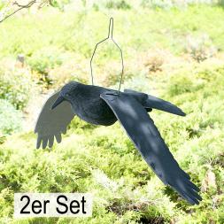 Fliegende Rabenkrähe, beflockt, 2er Set