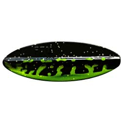 FTM Trout Spoon Fishing Tackle Max Omura Inline (Chartreuse/Schwarz UV)