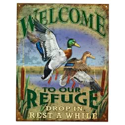 "Nostalgie-Schild mit Jagdmotiv ""Welcome to Our Refuge"""