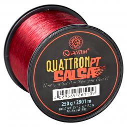 Quantum Angelschnur Quattron Salsa (transparent-rot, Großspule)