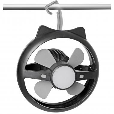 Wiederaufladbarer Ventilator mit integrierter LED Lampe und USB Anschluß