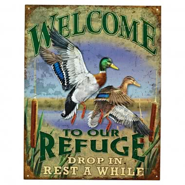 "Nostalgic Metal Sign ""Welcome to Our Refuge"""