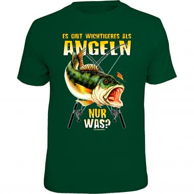 """Rahmenlos men's T-Shirt """"There is more important than fishing - but what?"""" (German version only)"""