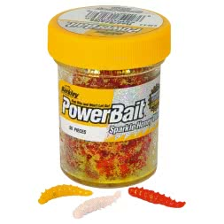 Berkley Trout Dough Powerbait Honey Worms (Garlic orange)
