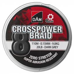 DAM® Fishing Line Crosspower 8-Braids (dark grey, 300 m)
