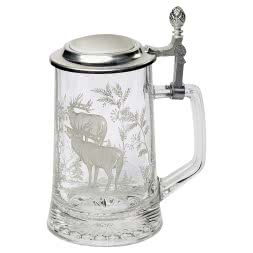 Hunters Beer Stein with a Pewter Lid