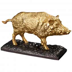 "Massive, fine bronze-gold sculpture ""Wild Boar"""