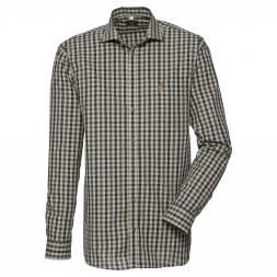 OS Trachten Men's Longsleeve Shirt (black/beide checkered)