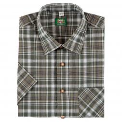 OS Trachten Men's Shortsleeve Shirt (checkered, with breast pocket)