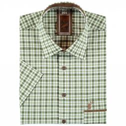 OS Trachten Men's Shortsleeve Shirt (checkered, with deer head)