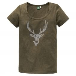 OS Trachten Women's T-Shirt Stag made of rhinestones