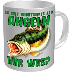 """Rahmenlos coffee cup """"Es gibt Wichtigeres als Angeln"""""""
