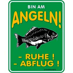 "Rahmenlos Metal sign ""Bin am Angeln"""